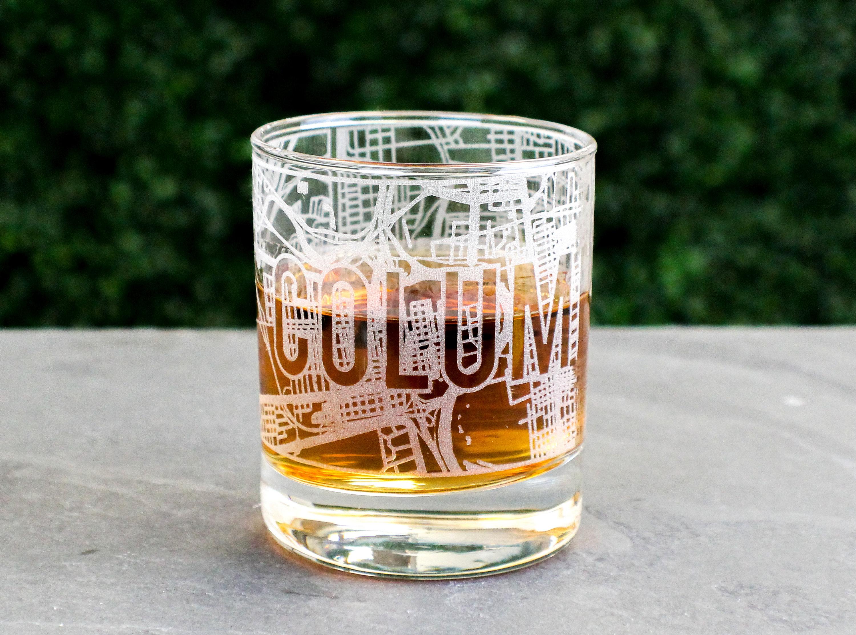 Columbus Whiskey Glass Map Engraved