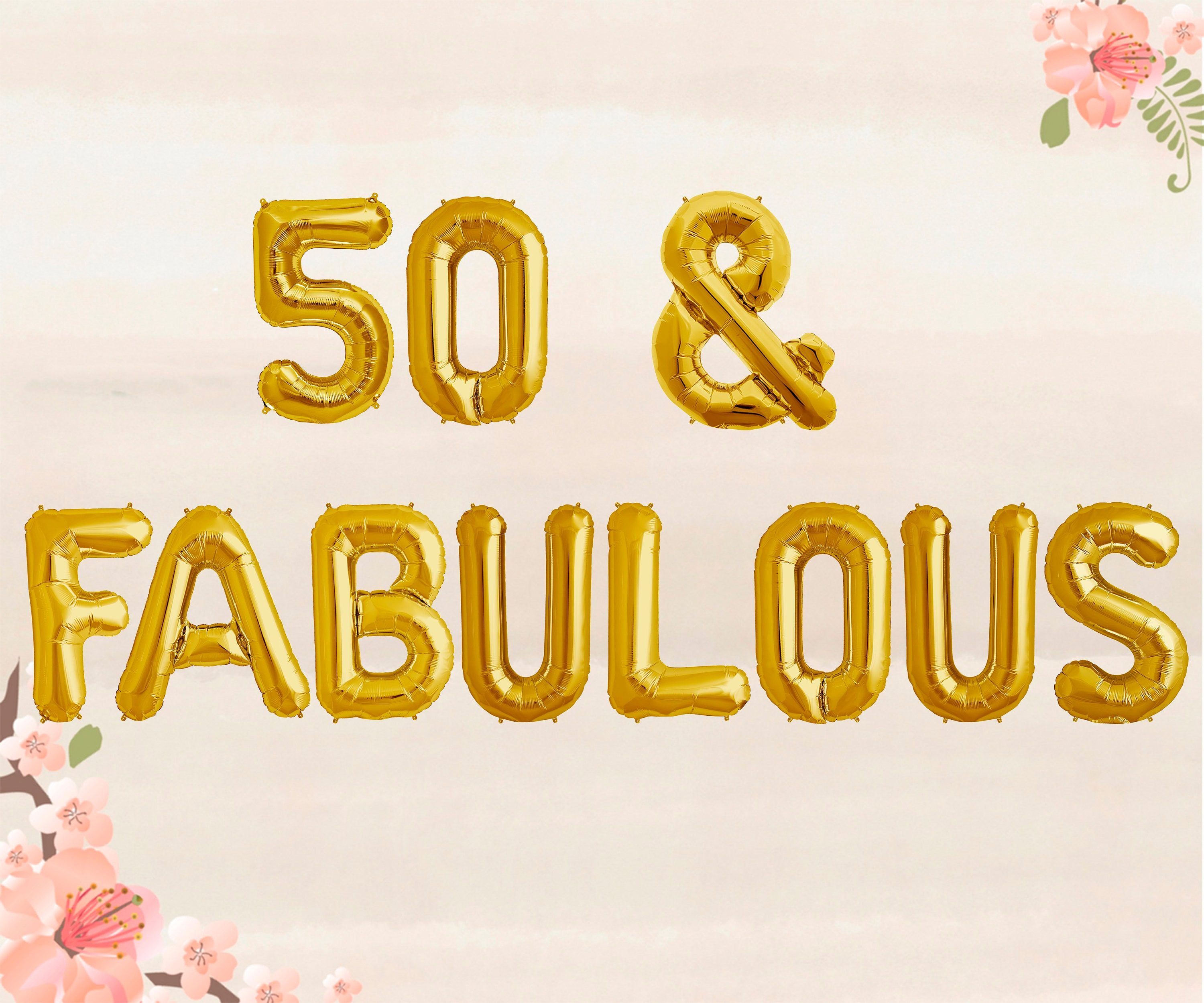 50 Fabulous Balloons 50th Birthday Party Decorations Etsy