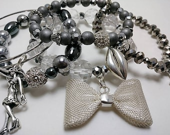 Silver Hematite Stack Bracelets with Charms