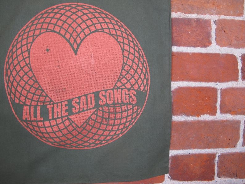 Screen printed Sad Songs Tote bag by Sam Foley