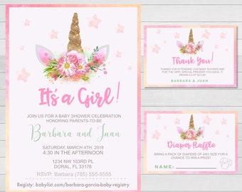 Unicorn Baby Shower It's a Girl Invitation + Thank You Card + Diaper Raffle