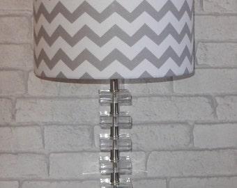 New Handmade Lampshade - Zig Zag Fabric - Chevron - Drum 20cm 30cm 40cm  Bespoke Grey and White