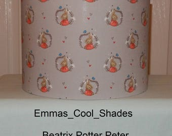 New Handmade Lampshade Peter Rabbit Beatrix Potter Drum 20cm 30cm Bespoke Nursery Baby Children Grey Flopsy Mopsy Cottontail Cotton-tail