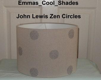 New Handmade Lampshade - John Lewis Zen Circles Fabric - Drum 20cm 30cm 40cm  Bespoke Grey