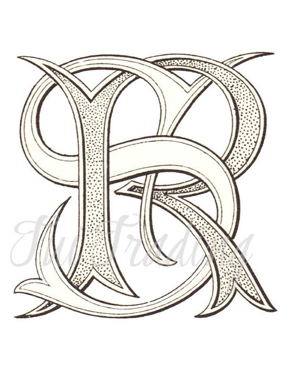 Sr Monogram S R Logo Digital Letters Initials Clipart Etsy