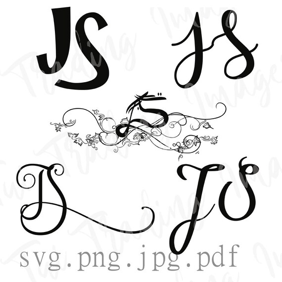 JS Monogram, J S Logo, Digital Letters, Initials Clipart, Antique  Lettering, Svg Instant Download
