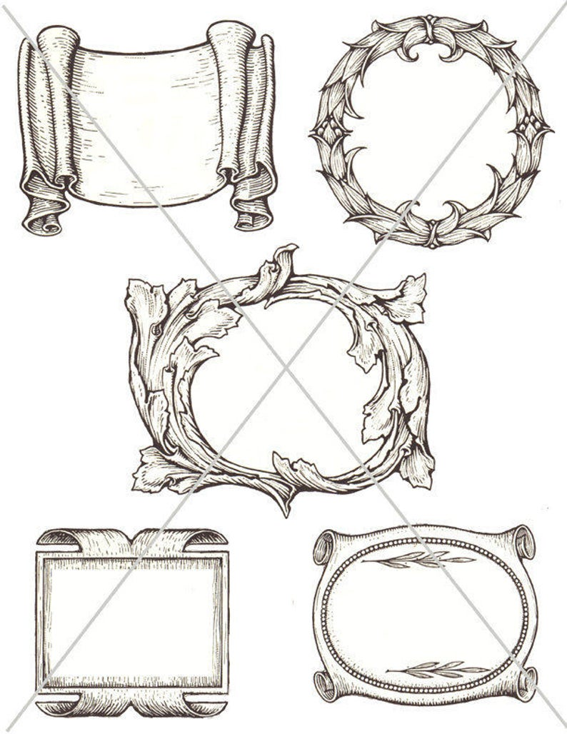 picture about Scroll Printable titled Electronic Banners, SVG Scroll Emblems, Ribbon Frames, Printable Frames, Electronic Down load, Victorian Resources, JPG and PDF, Clipart