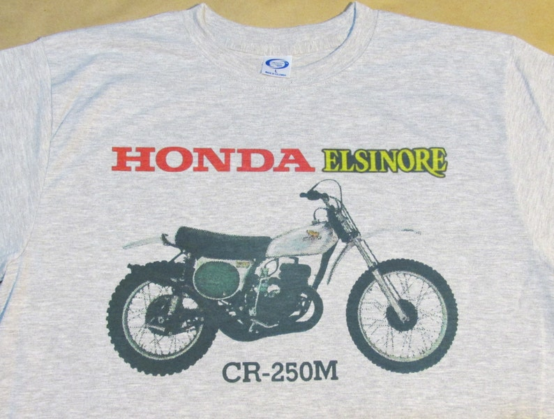 1974-75 Honda ELSINORE CR250 Graphic T-Shirt - Ashen Grey - Size Small to  3XL - Vapor Apparel - Vintage Retro Design - Cycle - Collectible