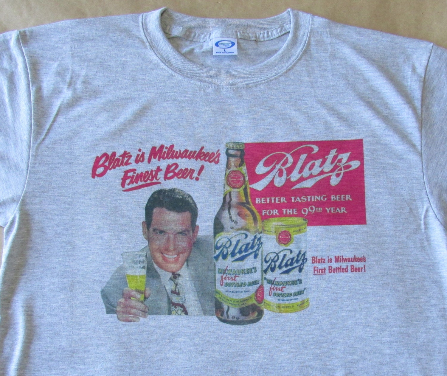 1950s Men's Ties, Bow Ties – Vintage, Skinny, Knit 1950s Blatz Beer Graphic T-Shirt - Ashen Grey Size Small To 3xl New Cool Vintage Look Unique Retro Design Great Gift Classic $19.95 AT vintagedancer.com