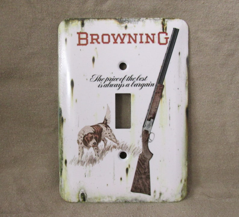 Browning Superposed Shotgun with Hunting Dog - Metal Light Switch Cover -  New - Rustic - Single Switch - Vintage Tin Sign Look - Great Gift