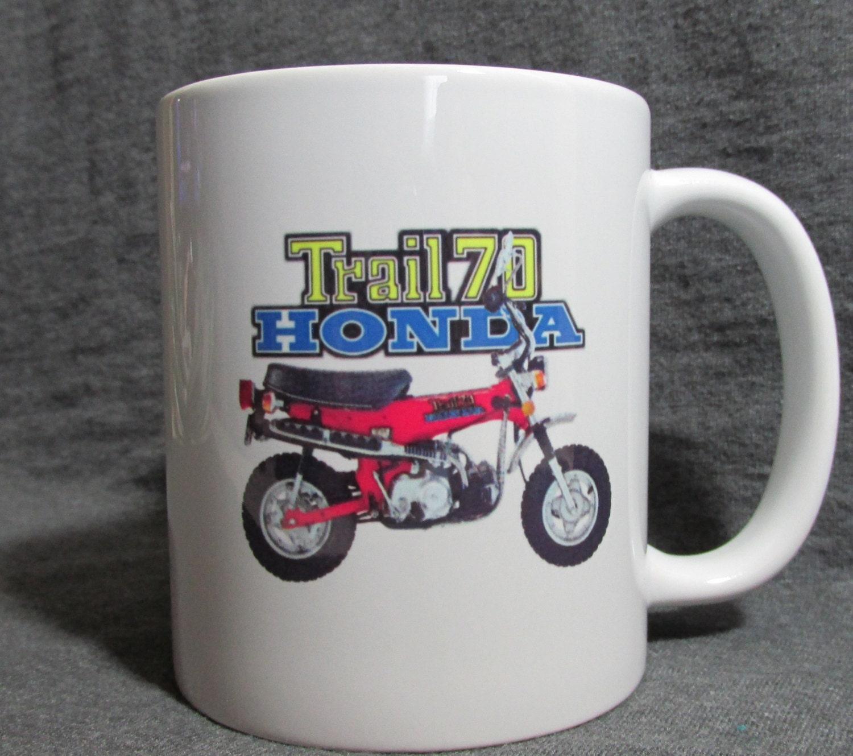 Red Honda Trail 70 11 Oz Coffee Cup Mug Sharp Vintage Etsy 1970 75cc Motorcycle Zoom