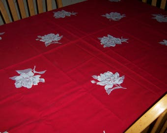 Vintage red Wilendur with white roses tablecloth