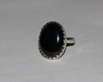 Handmade Oval Shape Black Onyx Gemstone Silver Plated Retro Ring Size US-5.5