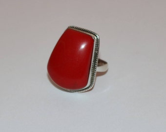 Coral Stone with 92.5% Sterling Silver Ring , Beautiful Fancy Shape Coral Ring , Oxidised Silver Coral Gemstone Ring , Coral / Moonga Ring