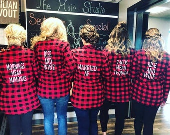 SET OF 8 -Red and Black Bride Flannels. Bridesmaid Flannels. Bridesmaid Shirt. Bridal Party Flannels.