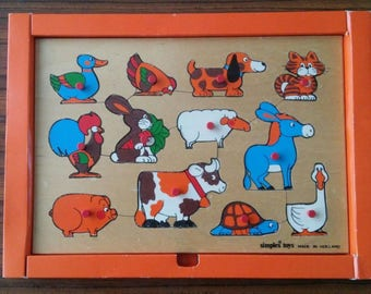 Vintage game Simplex playpuzzle wooden playboard made in Holland