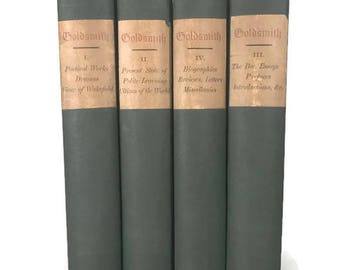 The Works of Oliver Goldsmith 4 Volume Set, Green Vintage Books, Set of 4 Antique Decorative Books, Green Books, Old Green Books