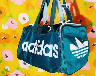 0fb2fc82f53 Vintage Retro Adidas Trefoil Green Duffle Bag    VTG 90s Street Wear