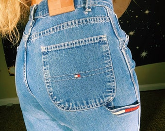 97af2dcc Vintage 90s 00s Tommy Hilfiger Denim Fitted Carpenter Pants // Tommy Jeans  Y2K Cargo Mom Jeans