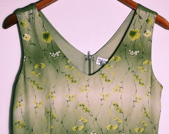 9bcd93aa513 Vintage 90s Green Floral Minidress    Olive Boho Hippie Dress    Short Summer  Dress