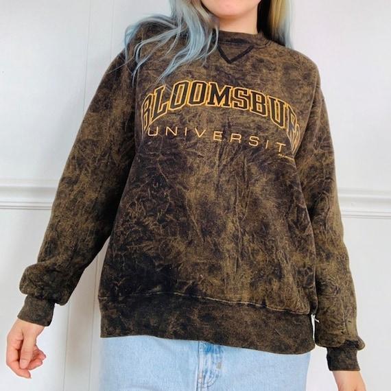 Vintage 90s Acid Wash Bloomsburg University Crewneck Sweater Made in USA Grunge Bloomsburg Alumni Gift Sweatshirt