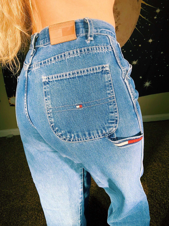 65b8f59f Vintage 90s 00s Tommy Hilfiger Denim Fitted Carpenter Pants // | Etsy
