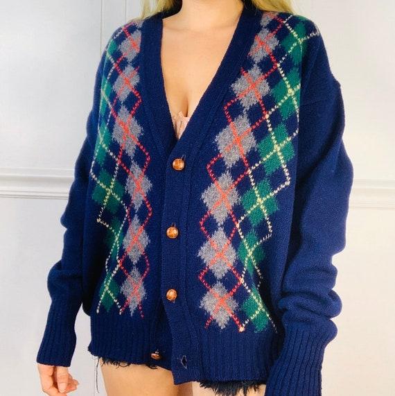 Vintage 100% Wool Argyle Navy Cardigan Sweater