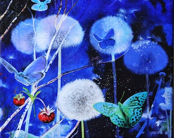 Fantasy Night Original Oil Painting, Dandelions and Butterfly Art, Original oil on canvas, Boba Painting, Blue color, Wall art, Home decor