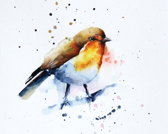 Robin Bird original watercolor painting, Original art, Bobapainting