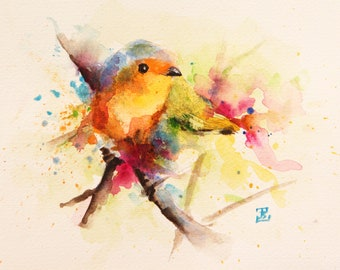 Little Bird, Original Watercolor Painting, Bird Painting, Color bird, Bobapainting