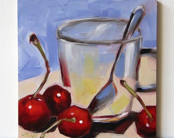 Cherries original still life oil painting, still life art, boba painting