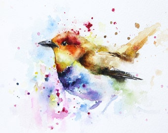 Bird original watercolor painting, Original art, Bobapainting