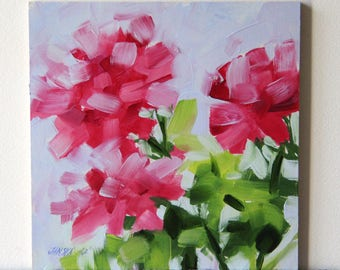 Geranium flower painting, original flower painting, oil painting, Christmas gifts, birthday gifts