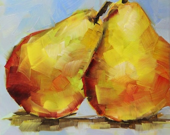 Still life with pears, Pears oil painting, original fruit painting, Christmas gifts, Bobapainting