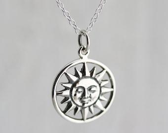 Sun Necklace - Sterling Silver Smiling Sun Necklace - Large Sun Pendant - Celestial Necklace  Sunshine Necklace You are my Sunshine Necklace