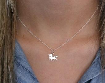 Unicorn Necklace - Sterling Silver Tiny Unicorn Necklace - Unicorn Lover Gift - Unicorn Jewelry - Unicorn Birthday - Girls Unicorn Pendant