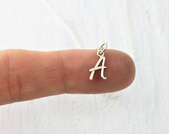 Letter Necklace, Sterling Silver Initial Necklace, Initial Jewelry, Small Initial Necklace, Cursive Initial Necklace, Personalized Jewelry