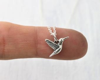 Hummingbird Necklace Sterling Silver Bird Necklace, Hummingbird Jewelry, Small Silver Bird Jewelry, Tiny Hummingbird Pendant Necklace