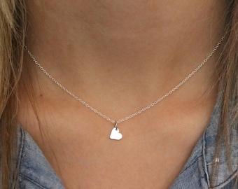 Tiny Heart Necklace Sterling Silver, Tiny Heart Pendant, Present for Flower Girl Gift for Flower Girl, Dainty Heart Necklace, Little Heart