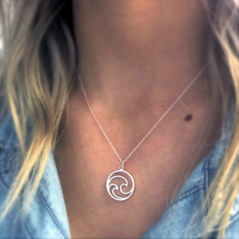 Ocean Necklace Sterling Silver Circle Wave Necklace Ocean image 0