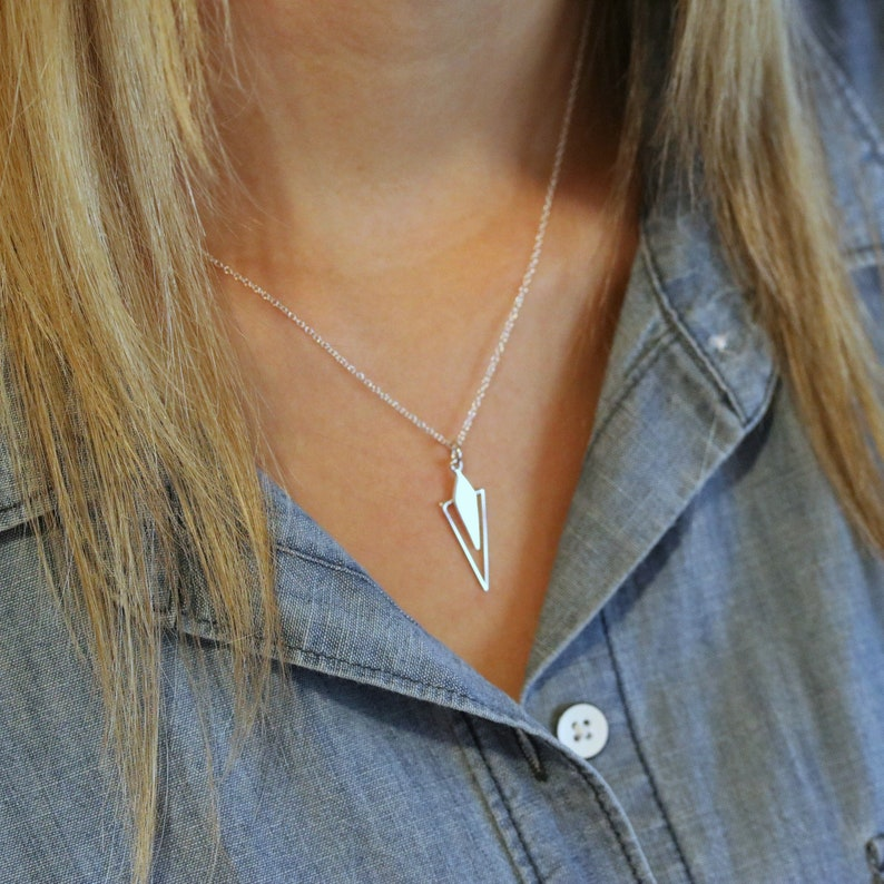 Sterling Silver Triangle Necklace Layered Geometric Simple image 0