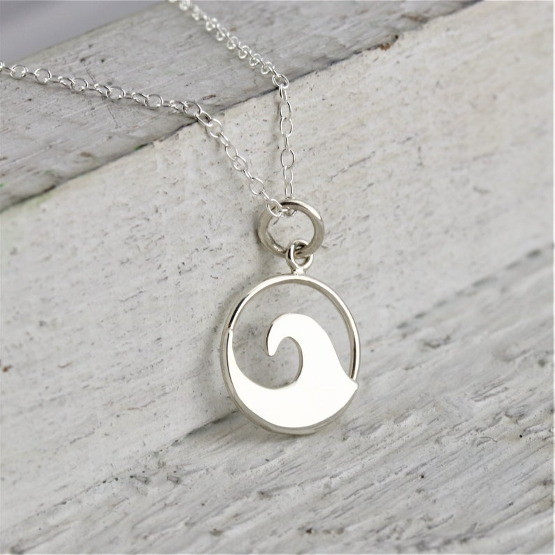 Dainty Sterling Silver Wave Necklace Beach Jewelry Delicate image 0
