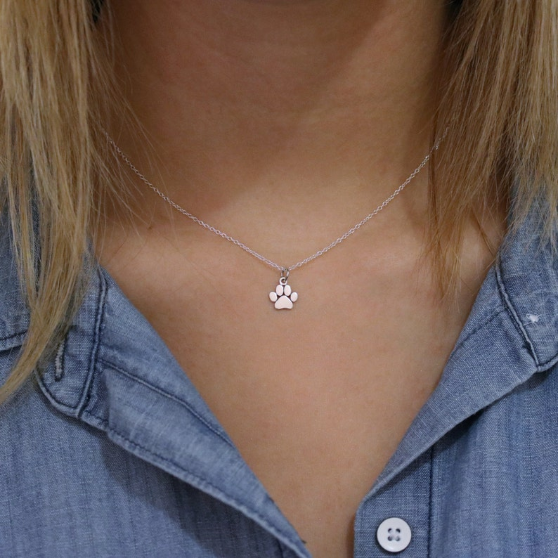 Paw Print Necklace  Sterling Silver Paw Print Necklace  Tiny image 0