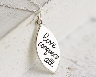 Gift for Her - Sterling Silver Love Conquers All Charm Necklace - Anniversary Gift - Gift for Girlfriend - Gift for Wife -Amor Vincit Omnia