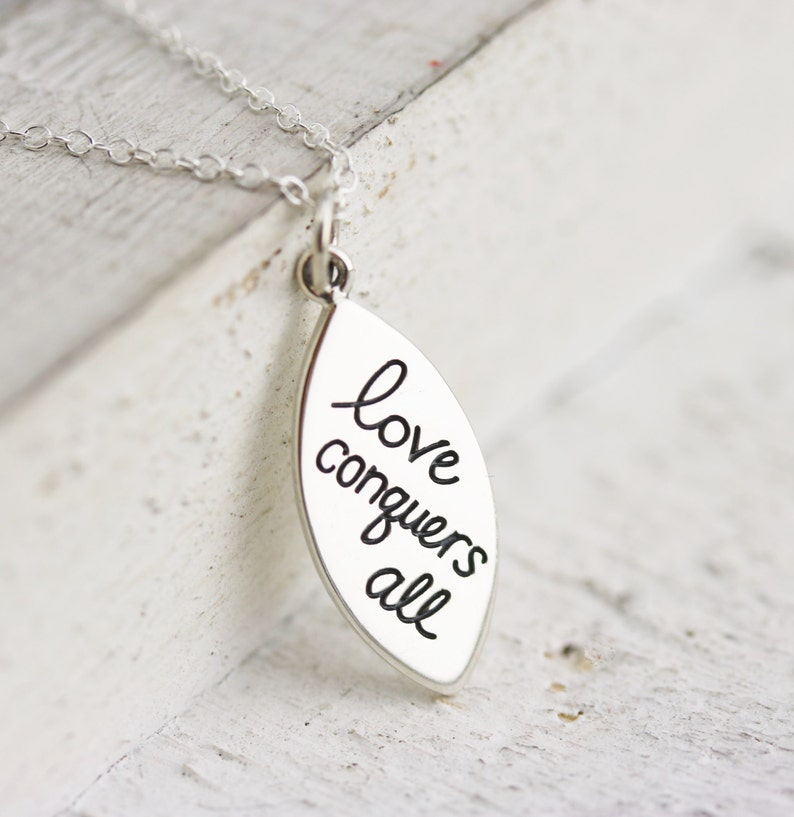 Gift for Her  Sterling Silver Love Conquers All Charm image 0