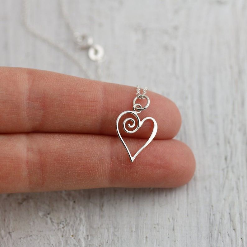 Sterling Silver Heart Necklace With Swirl Romantic Gift for image 0
