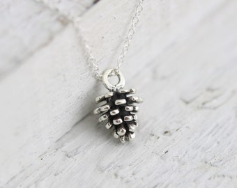 Pinecone Necklace - Sterling Silver Tiny Pinecone Necklace - Little Pine Cone Charm -Pinecone Pendant - Woodland Necklace - Nature Jewelry