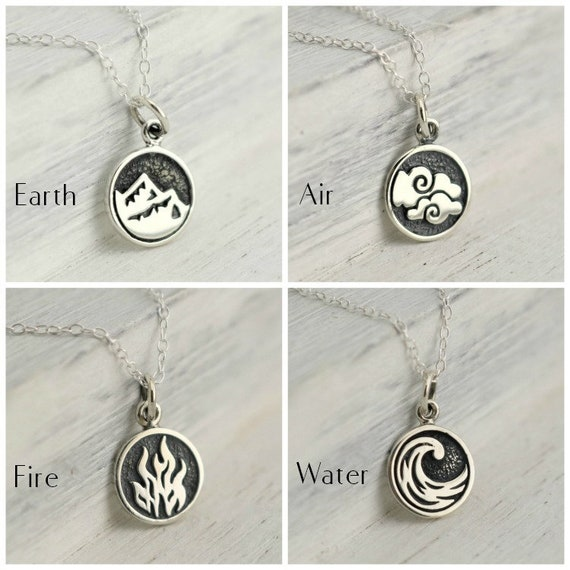 Four Elements Necklace Silver Element Jewelry Elemental Etsy