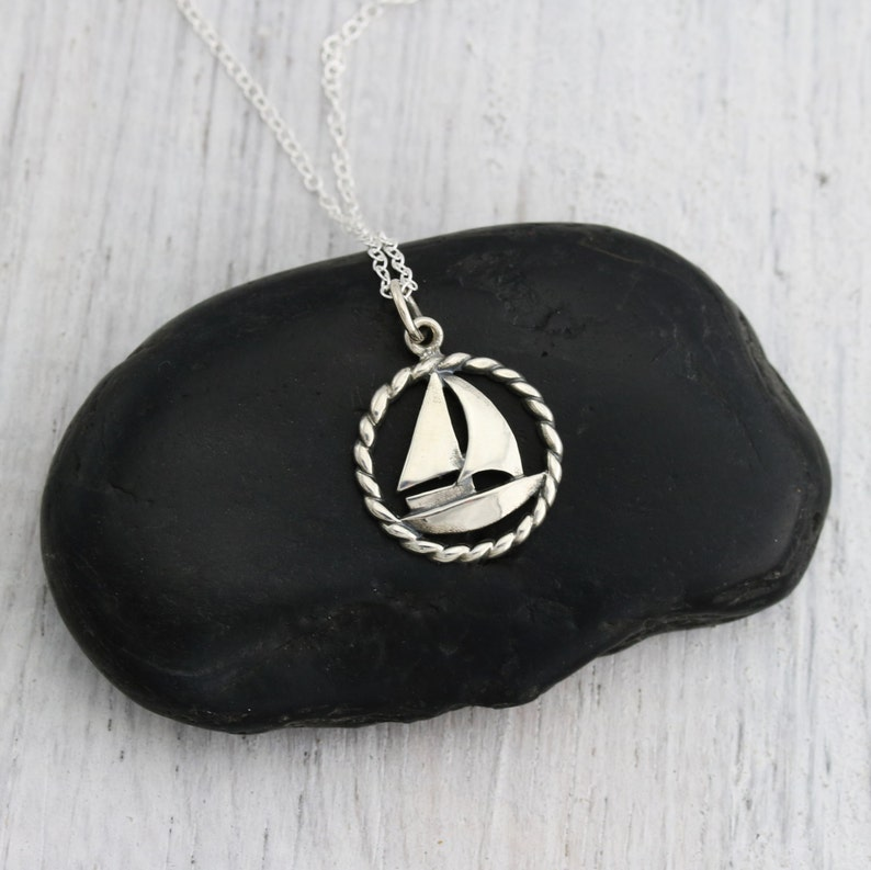 e4cca45c4ecf Nautical Jewelry Boat Sterling Silver Sailboat Necklace