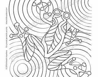 Lizards Turtles And Frogs Tree Frog Water Drop Circles Adult Coloring Page Printable Download From Artwork Anywhere Hand Drawn Design